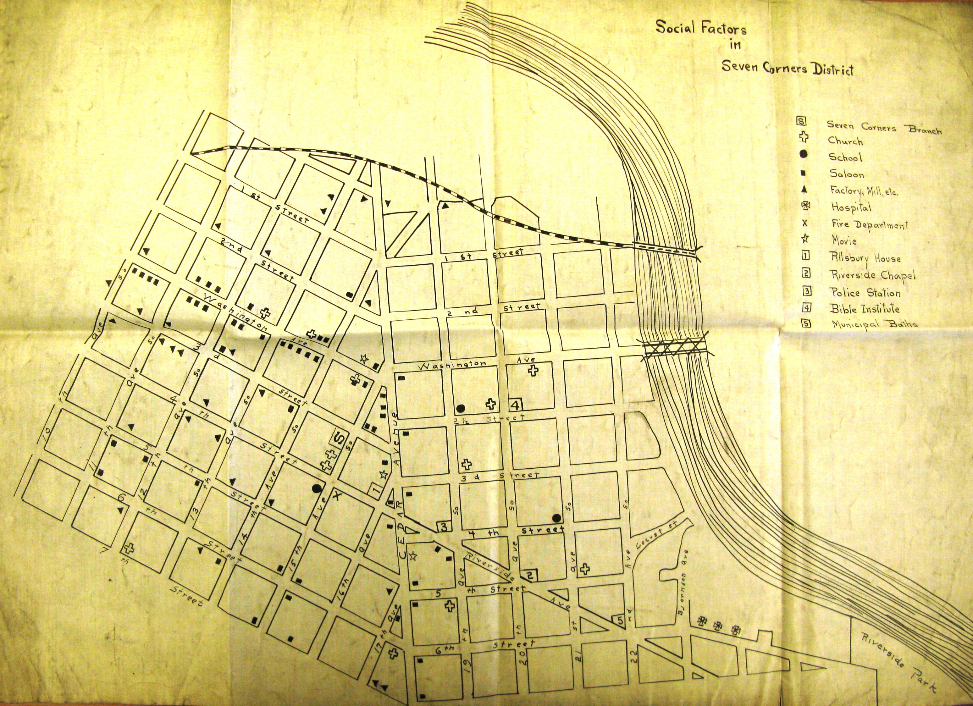 community assets map, seven corners, 1915, grace stevens, hclib