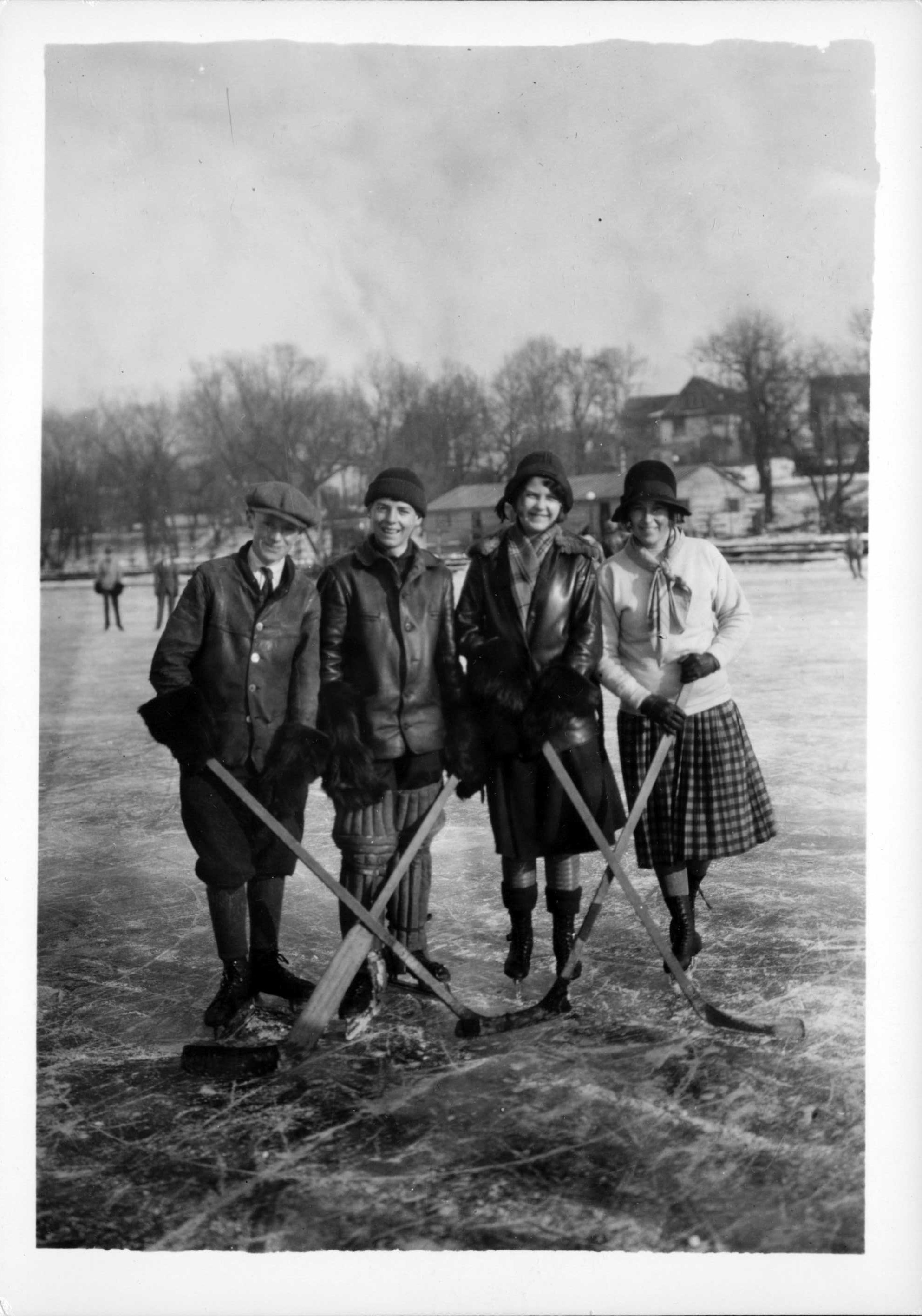 lake of the isles hockey skaters, january 10, 1926, side 1
