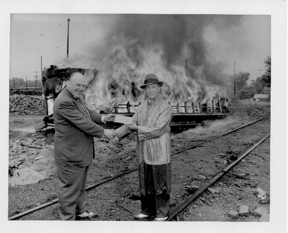 streetcar burning, 1954, minneapolis special collections