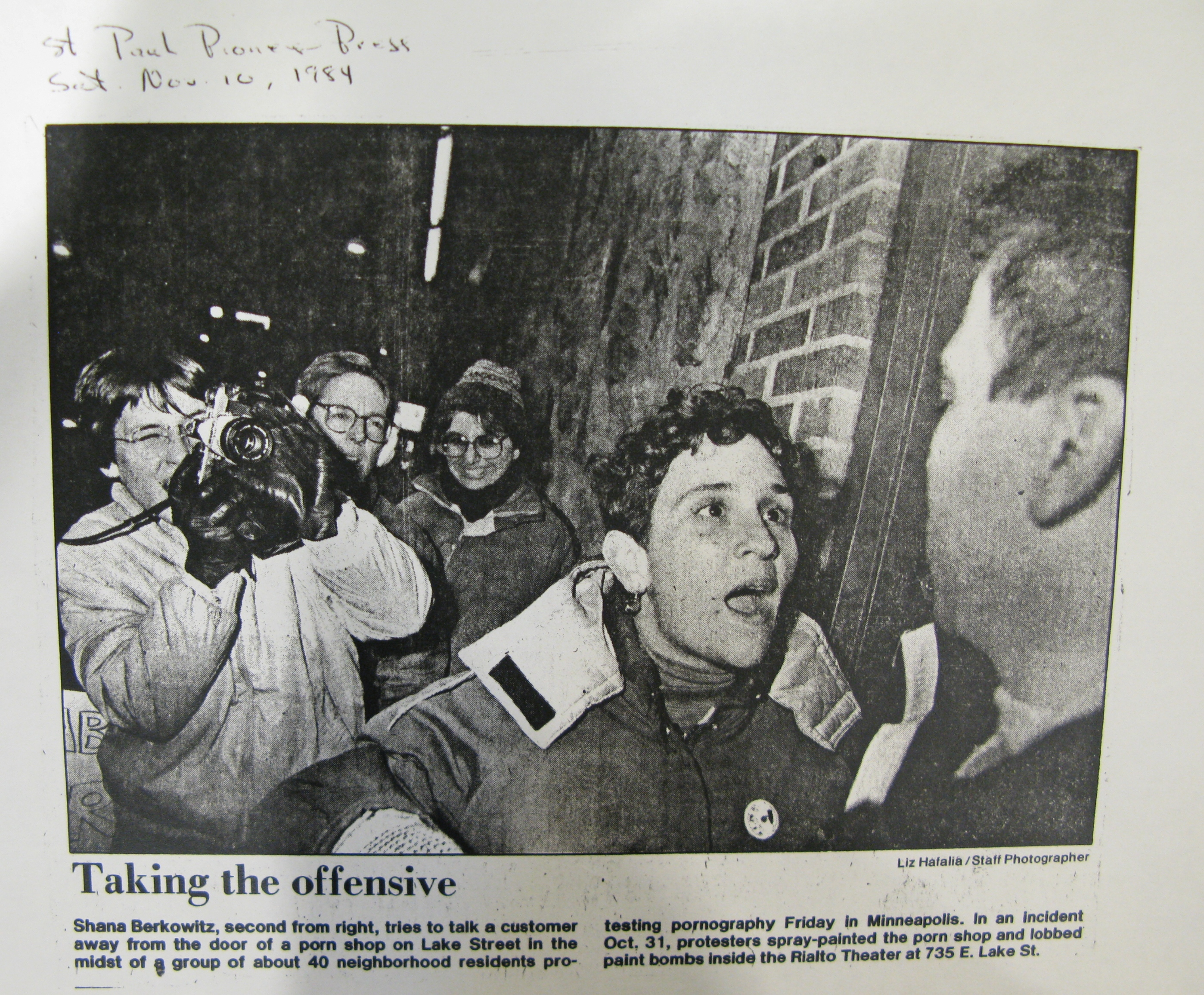 Porn protester for Kevin's blog post,  Pioneer Press, November 10, 1984