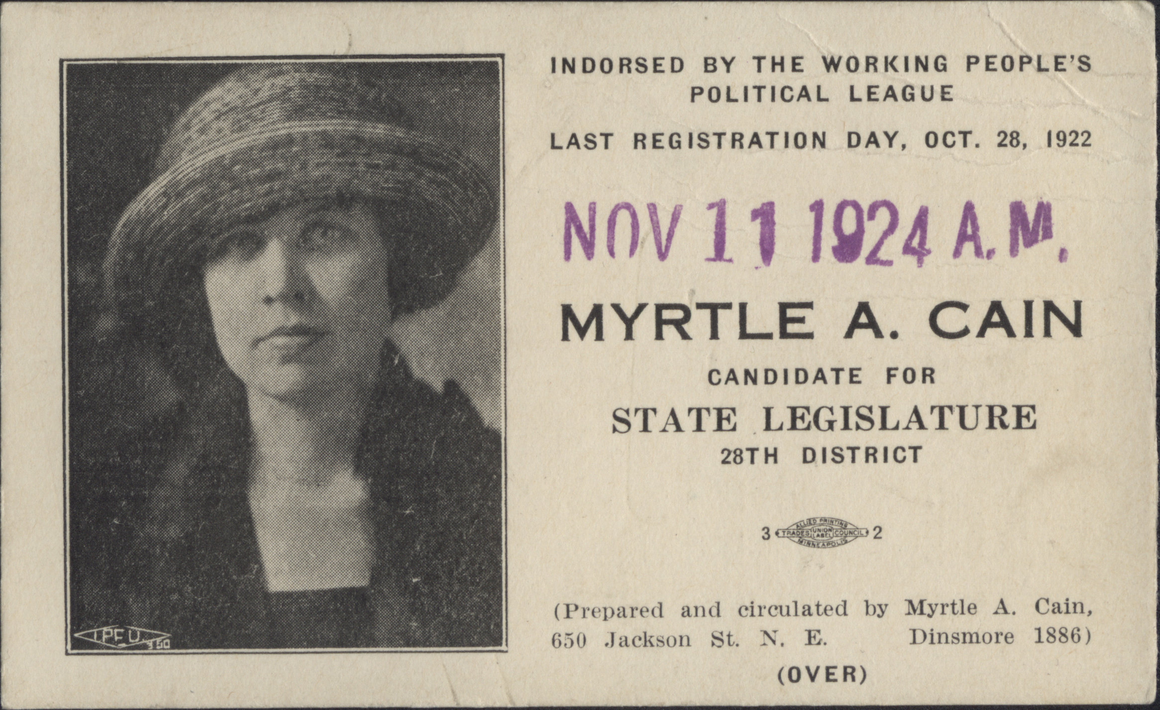 myrtle cain, voter card, side one, hclib vertical files