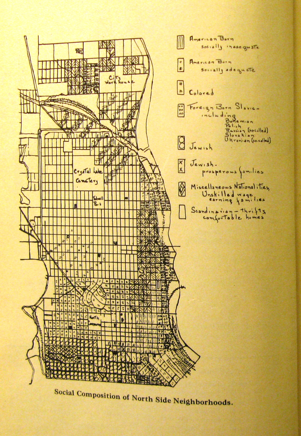 social composition of near northside neighborhoods, map from a study of social conditions, 1925