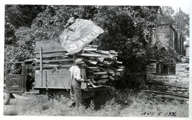 demolition of oak lake park, august 5, 1936