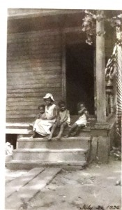 oak lake park, family on stoop, 1936, from city archives
