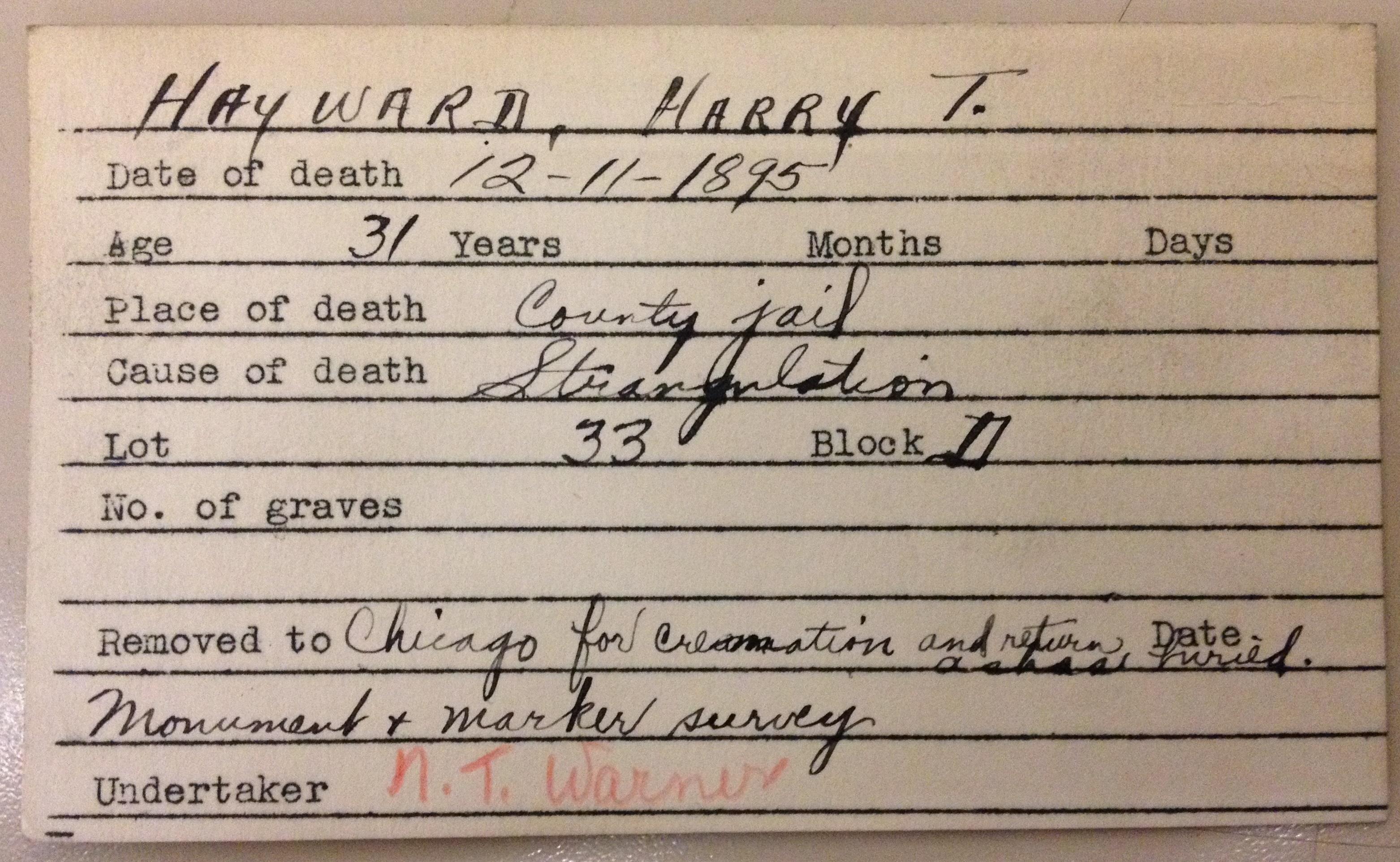 Harry Hayward burial card, soldiers and pioneers cemetery