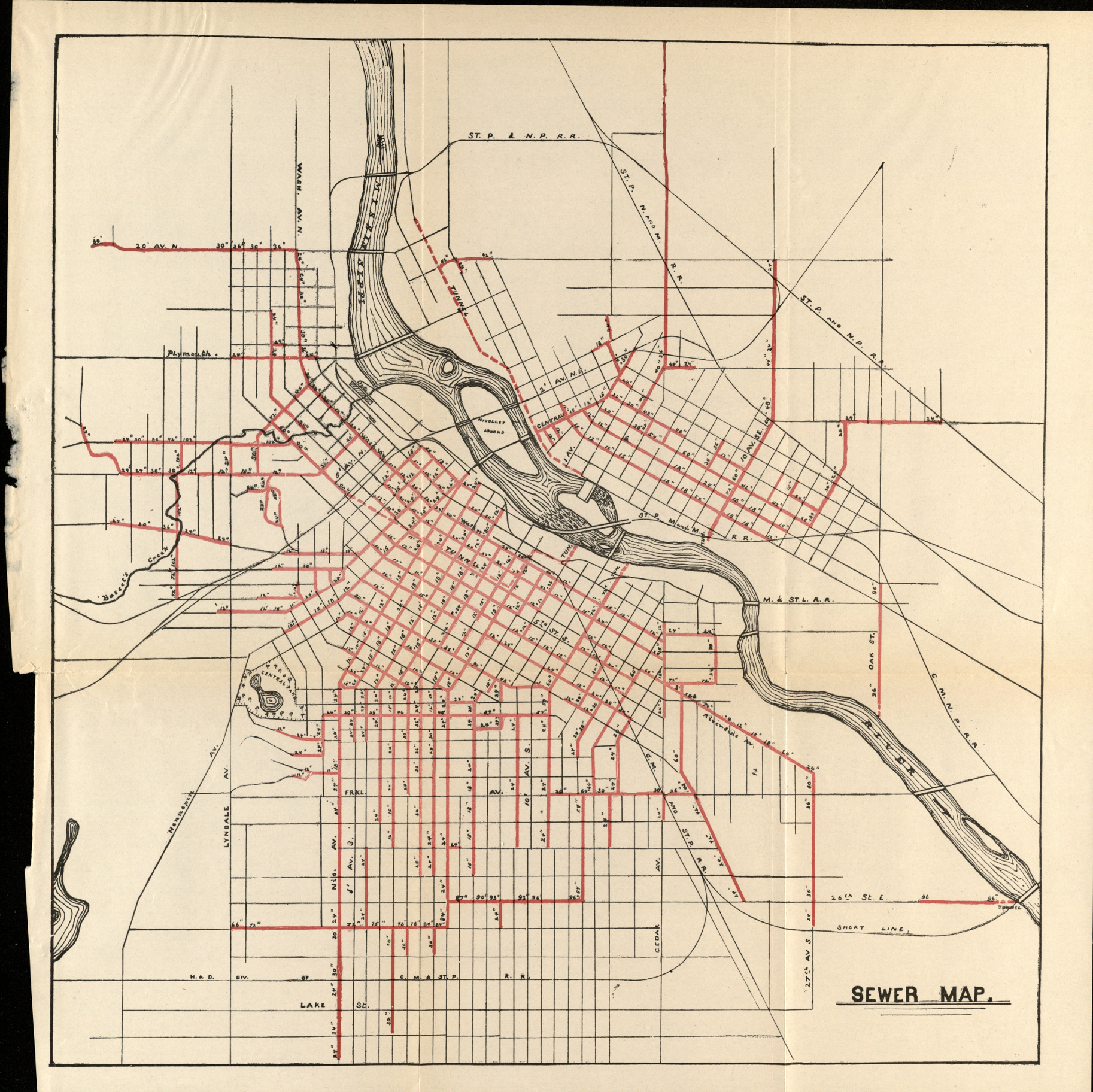 map of 1889 sewers