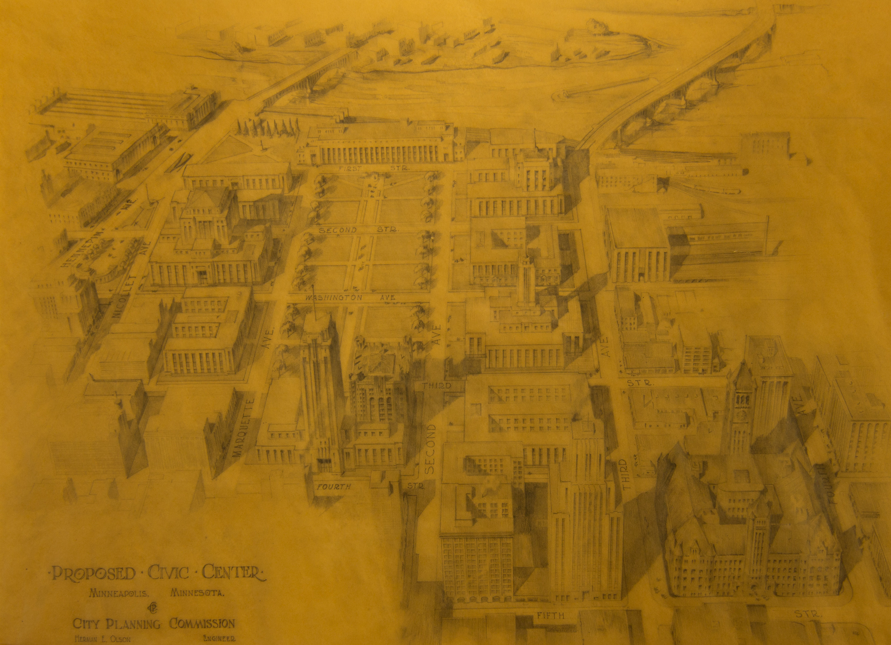 plan for civic center, 1934, city archives