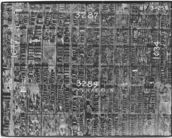smaller version, aerial map, u of m, 1938, franklin avenue and 35W