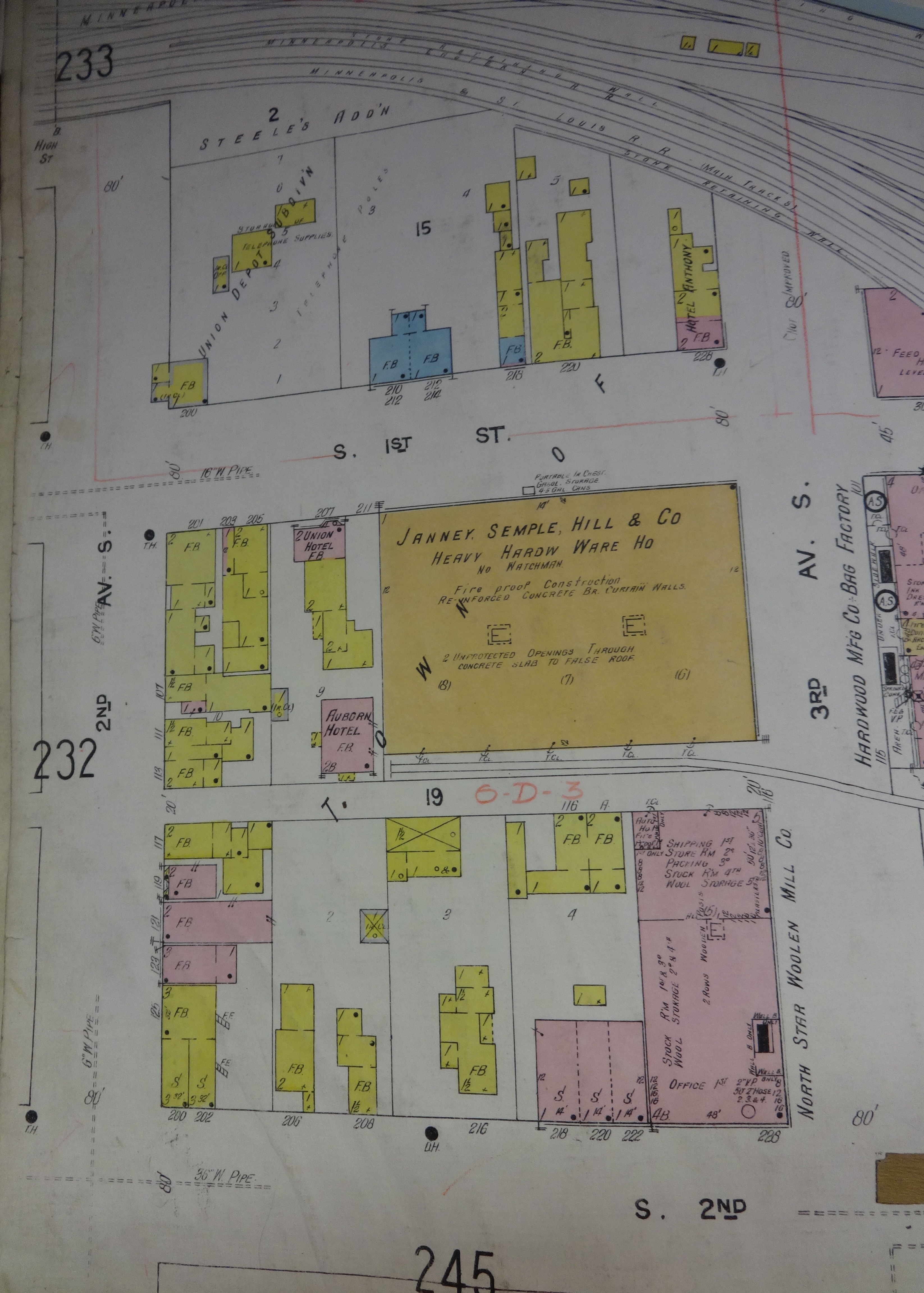 Sanborn Map 1st Street, tower archives, Female Boarding