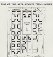 sumner field homes, promotional brochure map from daniel bergin