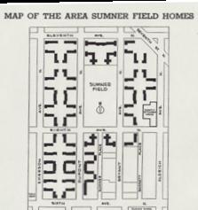 sumner field homes, promotional brochure map from daniel bergin