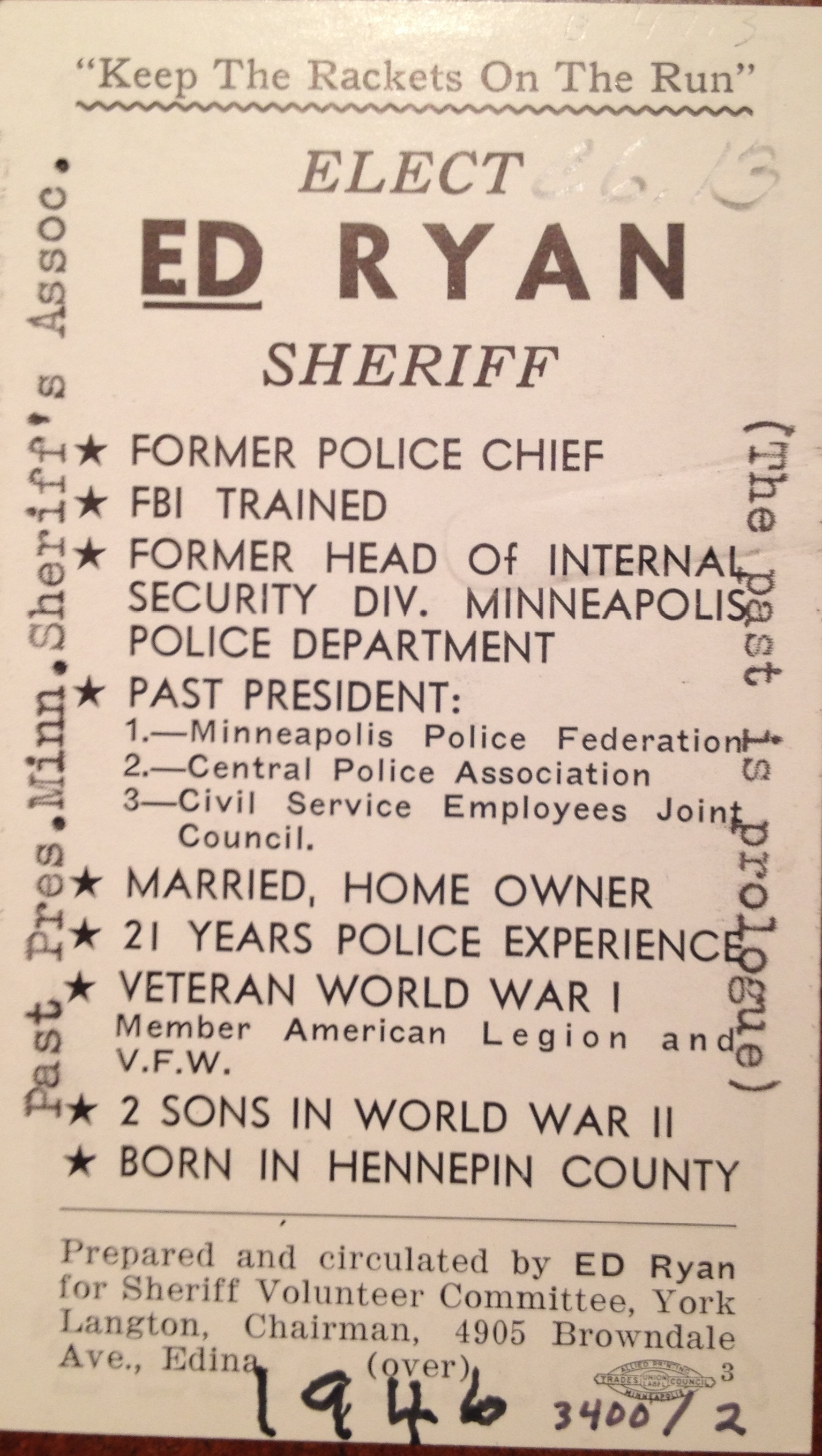 ed ryan for sherriff campaign card