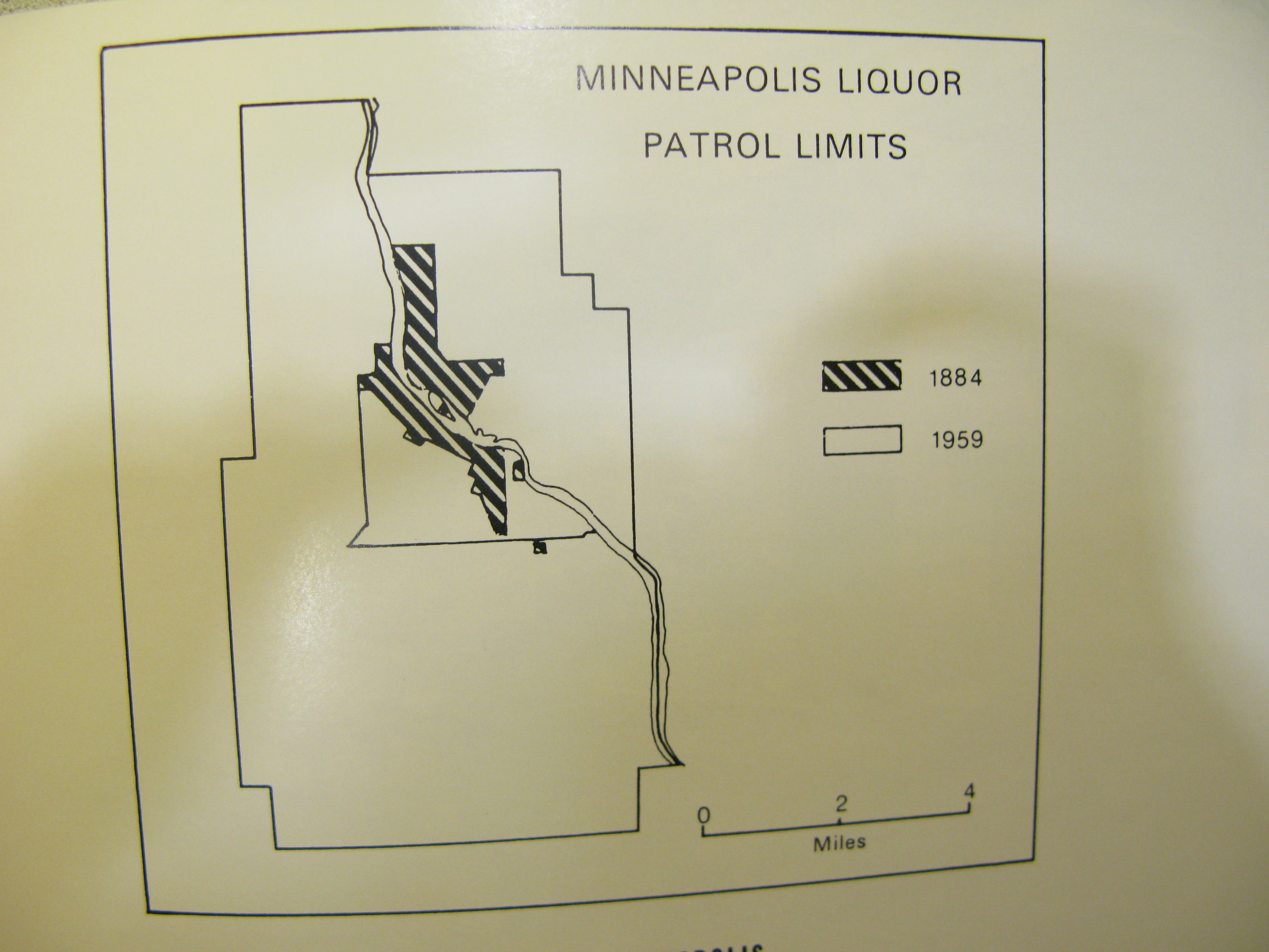 map of liquor patrol limits from hennepin history magazine, hathaway article