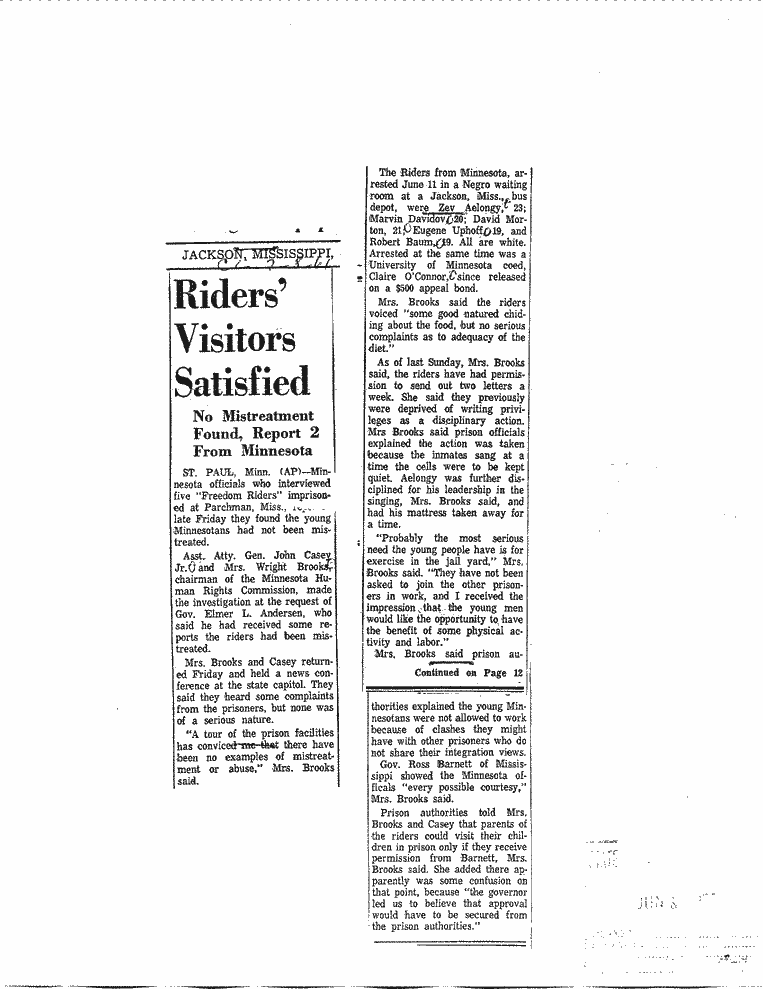 clipping from freedom rides imprisonment