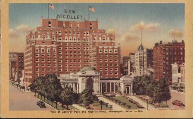 resized version, Gateway Park and Nicollet Hotel 1948 Postcard Side 1