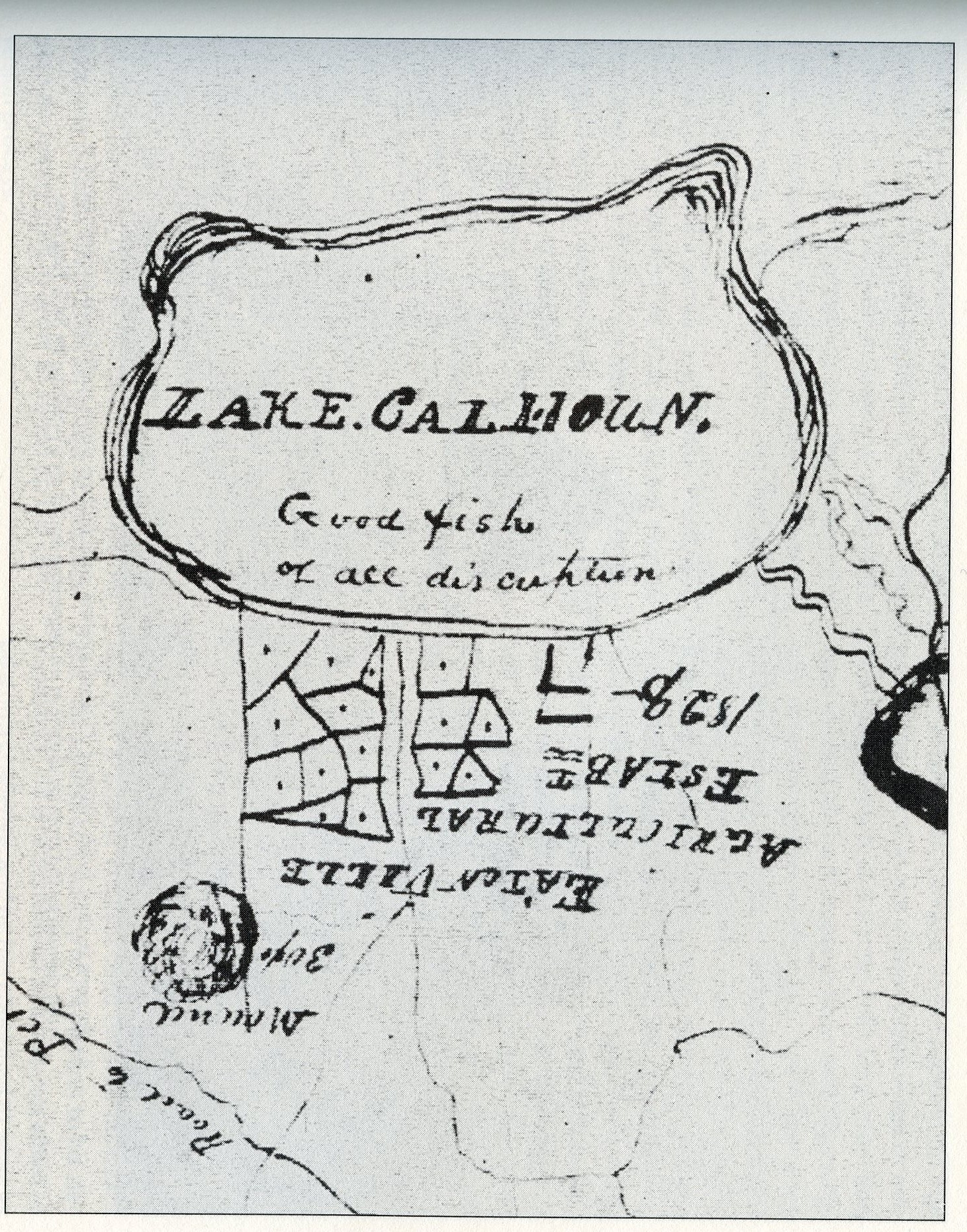 Lawrence Taliaferro's close up map of Lake Calhoun, MHS, 1835