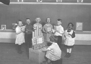 singing class at whittier school, c 1925, mhs
