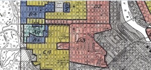 close up version of red lining map from HOLC, north side