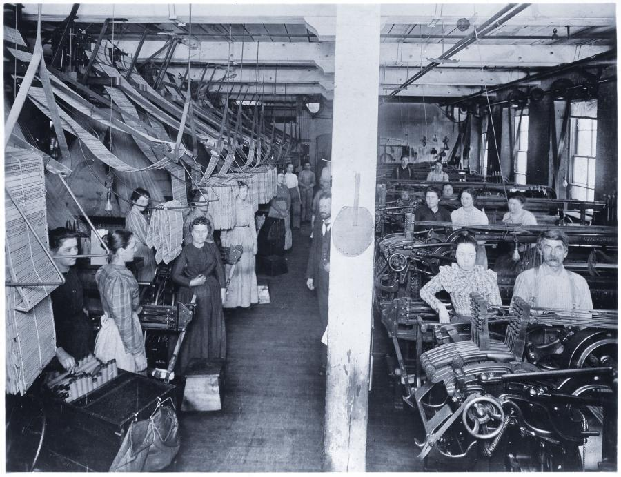 interior of North Star Woolen Mill, MHS, women workers