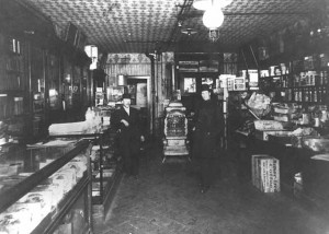 interior of brochin's delicatessan, c. 1914, mhs