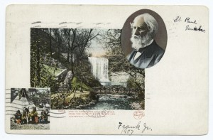 minnehaha falls postcard with poet and indians, 1907, nypl, detroit publishing company, digital id 62338