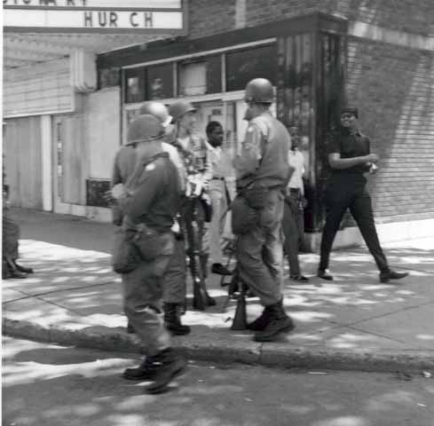 police on plymouth avenue, north minneapolis, after urban unrest or riots in 1967, mhs